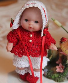Crochet clothes outfit for Berenguer 5 inch by dollcrochetboutique, $14.99
