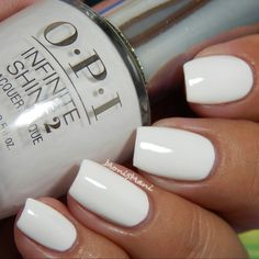 OPI Infinite Pearl of Wisdom, Go to Grayt Lenghts, Eternally Turquoise, Non-Stop White Opi infinite non-stop white White Nail Polish, White Nails, Gorgeous Nails, Pretty Nails, Opi Nail Colors, Opi Nails, Stylish Nails, Nagel Gel, Manicure And Pedicure