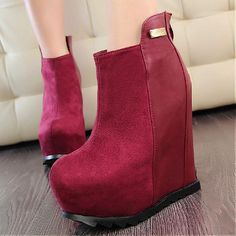 Wedges Shoes | Beautiful Metal Decoration Red Suede Round Closed Toe Super High Heel Wedges - Hugshoes.com