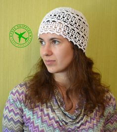Crochet Beanie. Spring and Summer white lace women's by Veselunka