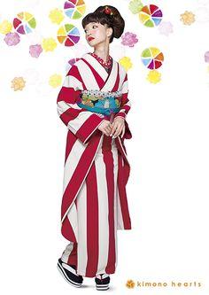 Love when yukata go a bit pop-art. Kimono Japan, Yukata Kimono, Kimono Dress, Japanese Kimono, Kimono Style, Cute Kimonos, Modern Kimono, Wedding Kimono, Kimono Design