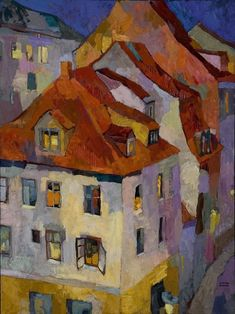 Rooftops by Larisa Aukon Oil ~ 40 x 30