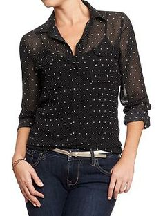 Womens Printed Chiffon Shirts - Old Navy, $32.94. Super pretty over a plain tank-top. Would LOVE this with a huge statement necklace.