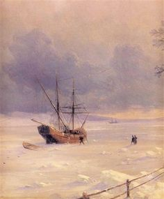 Frozen Bosphorus Under Snow - Ivan Aivazovsky - Completion Date: 1874