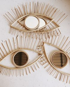 Amazing eye rattan mirrors via hello trader. The perfect addition to any bohemian styled house