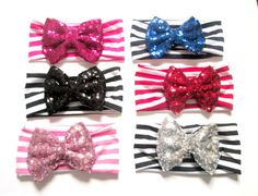 Set of 6 Sequin Bow Headband Newborn Headband by colorsplashh Newborn Headbands, Elastic Headbands, Head Wrap Headband, Top Knot, Head Wraps, All Things, Sequins, Buy And Sell, Bows