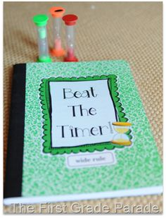 "Beat The Timer - Basically, the kids will take a timer with them to a ""dessert"" tub {fast finisher activity}…puzzles, write the room, etc.  If they finish the activity BEFORE the time runs out, they get to sign their name in the ""Beat the Timer"" notebook."