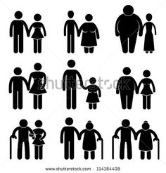Man Woman Couple Lover Boyfriend Girlfriend Husband Wife Old Young Tall Short Thin Fat Stick Figure Pictogram Icon