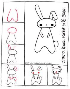 Learn to draw a cute kawaii bunny in 6 steps