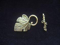 Gold Grape Leaf  Toggle Clasp Findings by CatsBeadKitsandMore, $3.25