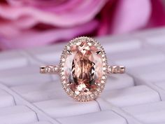 Oval Morganite Engagement Ring Pave Diamond 14K Rose Gold Milgrain Under Gallery Elongated 10x14mm - 6 / 14K White Gold