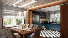 Дизайн интерьеров дома по проекту JAAKKO 187 Conference Room, Dining Table, Rustic, Interior Design, Kitchen, Furniture, Home Decor, Design Interiors, Cooking