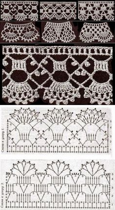 Crochet lace edging made from DMC Crochet Edging Patterns, Crochet Lace Edging, Crochet Borders, Crochet Diagram, Crochet Art, Thread Crochet, Filet Crochet, Irish Crochet, Crochet Designs
