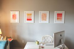 warm modern peach gold and grey office decor