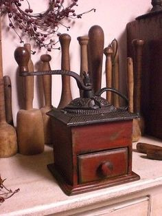 Early Wooden Red Coffee Grinder w/ Drawer ~ Wood Coffee Box