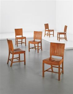 KAARE KLINT, Set of six 'Red' dining chairs, model no. 4751, Oak and Niger leather, Produced by Rud. Rasmussen Snedkerier Denmark, c. 1930.