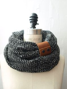 Ultra Chunky  Black circular infinity scarf with camel door System63, $45.00