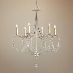 "Currey and Company Crystal 6-Light 27"" Wide Chandelier"
