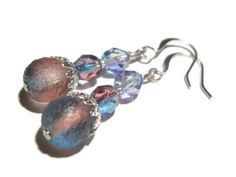 Frosted Blue Earring  Tanzanite and Fuchsia by TwinklePinkJewelry, €12.00