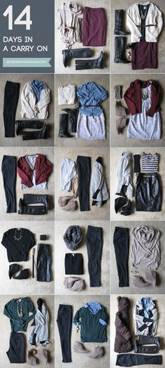 How to pack for 14 days with a carry-on. Winter Edition - This is a bit more stylish than the average mission trip needs, but the idea for mixing and matching a wardrobe is great!                                                                                                                                                                                 More