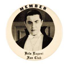 Bela Lugosi Fan Club pin-1960's
