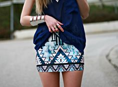 Daisy from the Mandarine Girl in the Strapped Chiffon Tank and the Aztec Pyramid Skirt