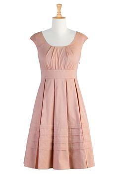 #eShakti, Pretty Dresses, Dresses, Chambray, Pleated Dress, Peach Dress, Pastel Dresses, Cotton Dress