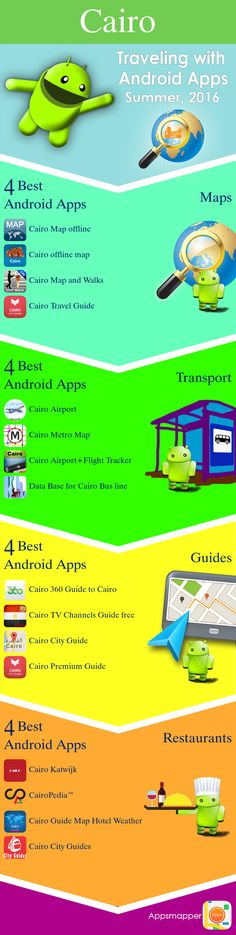 Cairo Android apps: Travel Guides, Maps, Transportation, Biking, Museums, Parking, Sport and apps for Students.