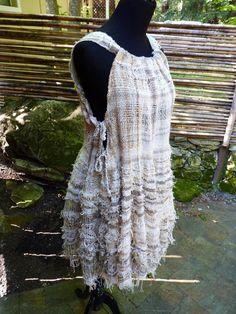 Saori hand woven cotton wearable art dress: von saorisantacruz