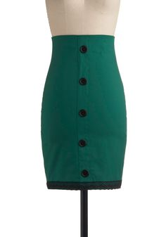 Lacy Luck Skirt by Modcloth, love the buttons and the understated green