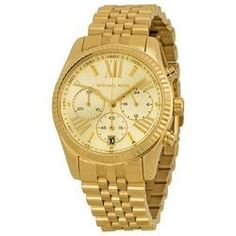 Lexington Chronograph Champagne Dial Gold PVD Ladies Watch MK5556