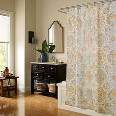 This Ali Baba shower curtain is fanciful like a flying carpet in today& restful color pallet. This polyester shower curtain features a unique motif and is perfect for any bathroom decor. Modern Shower Curtains, Fabric Shower Curtains, Bathroom Spa, Small Bathroom, Bathroom Ideas, Restroom Ideas, Downstairs Bathroom, Aqua, Yellow Bedding