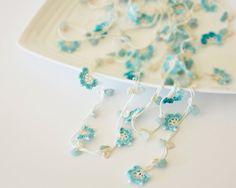 Crochet Necklace, Oya, Mint Flowers, Crochet Jewelry, Handmade Jewellery