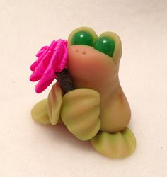 OOAK Tiny Clay FROG Pink Rose Chinese Jade Eyes 529 by Cay Fantasy Miniature Polymer Clay