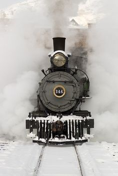 Train, steam, on rails, railway, tracks, curves, oldie, beautiful, out of the mist, transportation, history, Winter, snow, photograph, photo