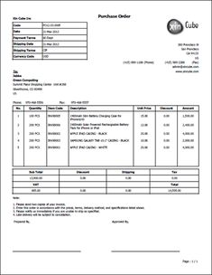 computer purchase invoice