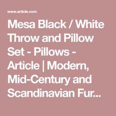 Mesa Black / White Throw and Pillow Set - Pillows - Article | Modern, Mid-Century and Scandinavian Furniture