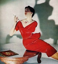 1950 red velvet sheath wiggle dress cocktail evening unique neckline pencil skirt color photo print ad model magazine 50s