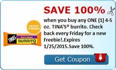 FREE 4-5 oz. TINA'S burrito | Closet of Free Samples | Get FREE Samples by Mail | Free Stuff