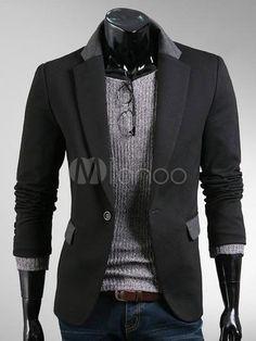 Fashion Black Cotton Single Button Casual Suits For Men