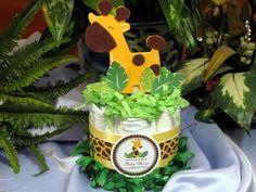 Baby Shower Diaper Cake Centerpieces for small tables   - Baby Giraffe Jungle Safari