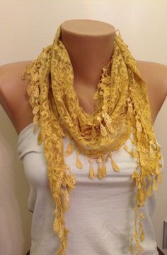 so stylish color.... Check out this item in my Etsy shop https://www.etsy.com/listing/226717295/yellow-lace-scarf-springsummer-scarf
