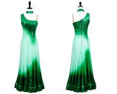 Crème de Menthe | Smooth & Standard Dresses | Encore Ballroom Couture  I really like the one-shoulder thing--elegant neckline.