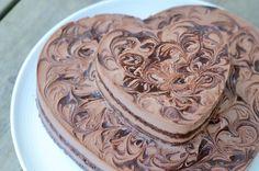 Light and dark layer chocolate mousse cake with chocolateswirl
