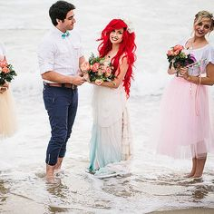 "Equal time in the sea: | This ""Little Mermaid""-Themed Fantasy Wedding Is A Disney Lover's Dream"
