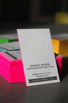 letterpress name card with hot pink edging