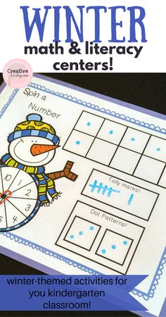 Winter math and literacy centers for your kindergarten classroom. Use these to bring some fun to your activities!