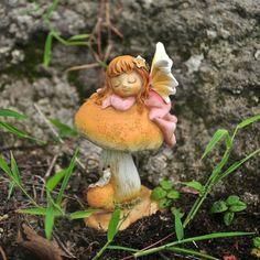 Fairy Sleeping on Mushroom Fairy Figurine