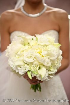 white roses, peonies & calla lilly wedding bouquet - this has great texture and shape.  I love it.purple center of lillies