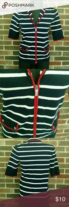 Jones of New York zip up Zip up, red, white, and blue cardigan. 3/4 sleeves. Size S. Lightly loved. Jones New York Tops